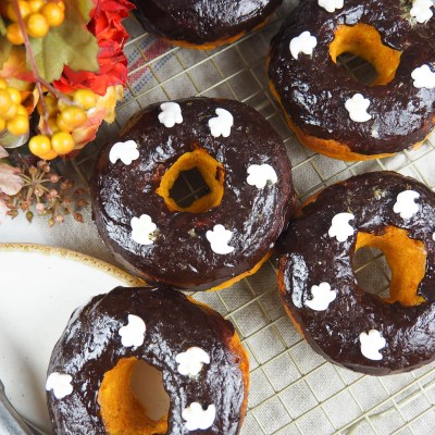 EASY BAKED CHOCOLATE DONUTS WITH PUMPKIN
