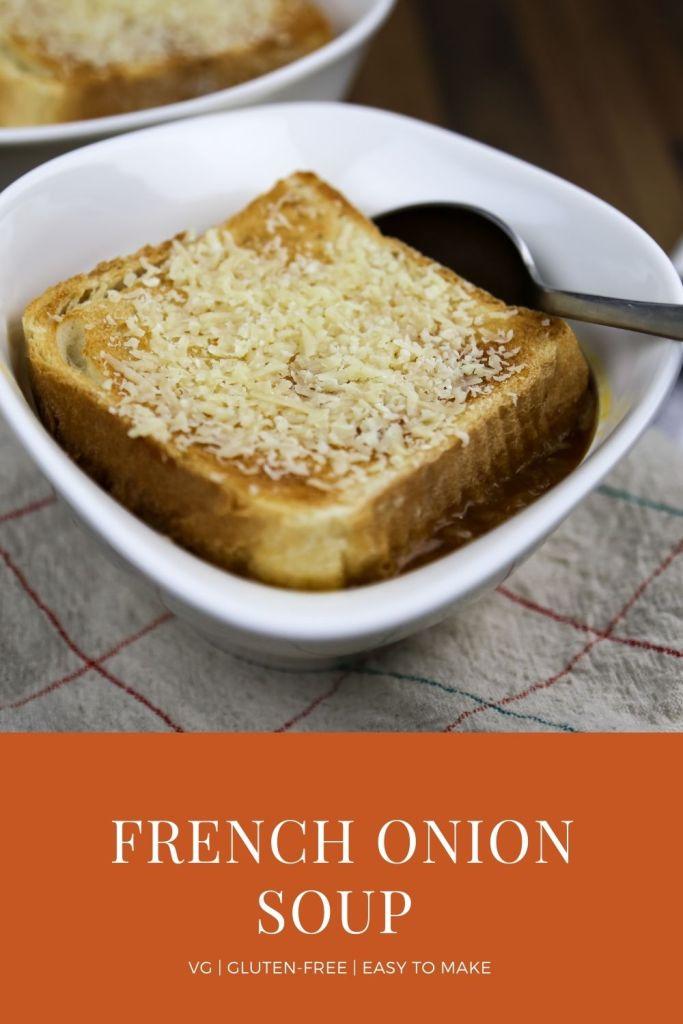 a bowl of vegan french onion soup