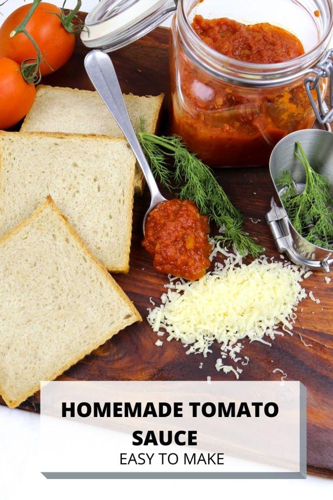 a jar with homemade tomato sauce