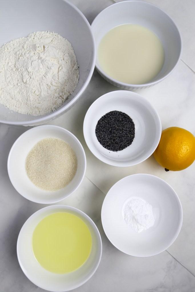 vegan lemon poppy seeds drizzle cake ingredients