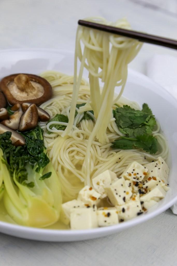 a bowl with vegan ramen
