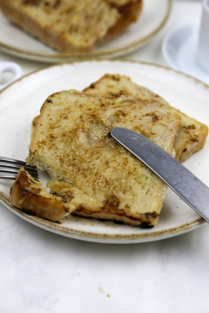 a plate with vegan french toast