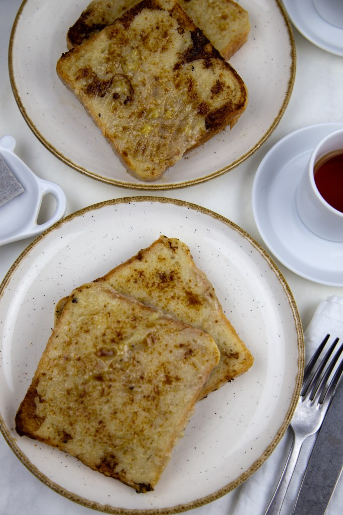 two plates with vegan french toast